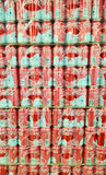 Coca Cola cans in supermarket. PIATRA NEAMT, ROMANIA - DECMBER 12, 2016: Stack of Coca Cola cans of juice in Carrefour supermarket store Royalty Free Stock Photography