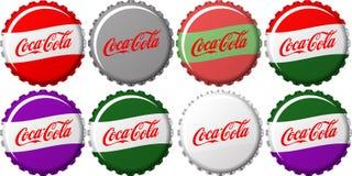 Coca Cola Caps. Different Color Coca Cola Bottle Cap Collection Stock Images