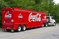Coca-Cola. Delivery truck on the road royalty free stock photo