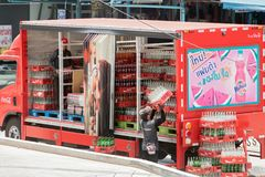 Coca-Cola delivery truck on street stock photo