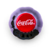 Coca-Cola-drank in een fles op witte hoogste mening als achtergrond Royalty-vrije Stock Fotografie