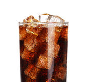 Coca cola drink glass with ice cubes Isolated on white Stock Photo