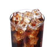 Coca cola drink glass with ice cubes Isolated on white Stock Photography
