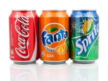 Coca-Cola, Fanta e latte di Sprite Immagini Stock