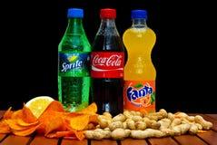 Coca-cola, fanta e Sprite Immagine Stock