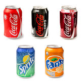 Coca-Cola, Fanta And Sprite Bottle Cans Stockfotografie