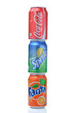 Coca cola, fanta, sprite cans Stock Photos