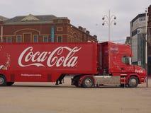 Coca-cola lastbil i Blackpool Arkivbild