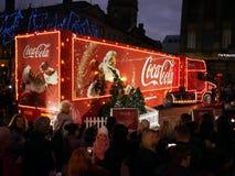 Coca-cola lastbil i preston arkivbild