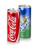 Coca-Cola, latte di Sprite Fotografia Stock Libera da Diritti