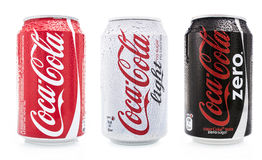 Coca cola light, zero and normal stock photography