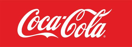 Coca Cola logo. On red background. Traced from photo to EPS royalty free illustration