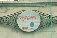 Coca Cola logo in soviet restraunt, Kyiv, Ukraine 2012. Travel Royalty Free Stock Photos