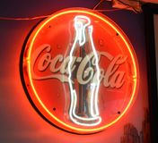 Coca-Cola neon logo close up royalty free stock photography