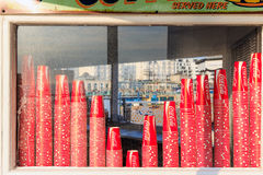 Coca Cola Paper Cups on Display Window Stock Photo