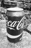 Coca-Cola può in bianco e nero Fotografia Stock Libera da Diritti