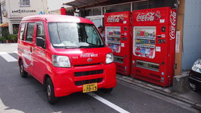 Coca Cola. Red Coca Cola minivan and vending machine at Japan Stock Photo