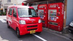 Coca Cola. Red Coca Cola minivan and vending machine at Japan Stock Photo