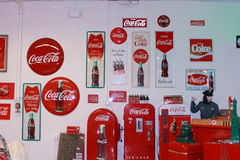 Coca-Cola signs and female Texaco mannequin Royalty Free Stock Photos