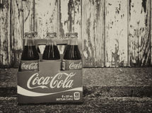 Coca Cola. Six pack of Coca Cola bottles Stock Photo