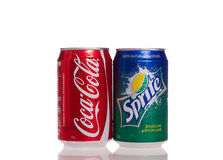 Coca cola and sprite cans Royalty Free Stock Image