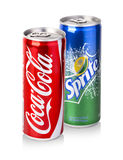Coca-Cola, Sprite Cans Royalty Free Stock Photo
