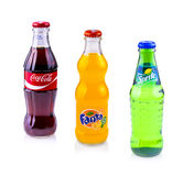 Coca Cola, Sprite and Fanta cans isolated on white background Stock Photo