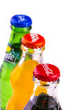 Coca Cola, Sprite and Fanta cans isolated on white background Stock Images