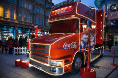 Coca Cola truck at Cardiff, South Wales, UK. Royalty Free Stock Photography