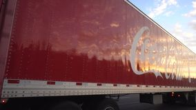 Coca Cola Truck on Highway in USA stock footage