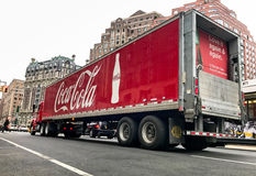 Coca cola truck. New York, February 28, 2017: A Coca-Cola. truck has stopped on the red light on Amsterdam Avenue stock photos
