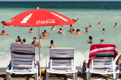 Coca Cola Umbrella On The Beach Royalty Free Stock Photo
