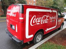 Coca Cola Van híbrida imágenes de archivo libres de regalías