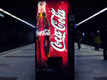 Coca cola vending machine. At Bucharest subway station Royalty Free Stock Photography
