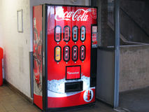 Coca Cola vending machine. A coca cola vending machine. This machine is situated in a car park near the grosvenor shopping center in Northampton, United Kingdom Stock Image
