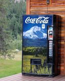 Coca Cola Vending Machine. With soft drinks like, Sprite, Dr Pepper,Dasani and Coke. Photo of Alaska landscape covers the machine. Denali National Park Royalty Free Stock Images
