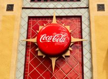 Coca Cola Vintage Icon on colorful wall African Style at Bush Gardens Theme Park. royalty free stock images