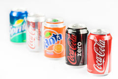 Coca cola, zero, light, sprite drinks. Stock Image