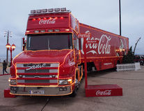 Coca-colavrachtwagen in Blackpool Stock Afbeeldingen