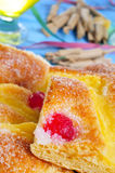 Coca de Sant Joan, sweet flat cake from Catalonia, Spain Stock Photos