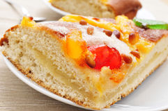 Coca de Sant Joan, typical sweet flat cake from Catalonia, Spain Royalty Free Stock Photography