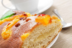 Coca de Sant Joan, typical sweet flat cake from Catalonia, Spain Stock Photo