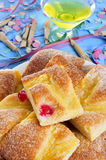 Coca de Sant Joan, typical sweet flat cake from Catalonia, Spain Royalty Free Stock Photos