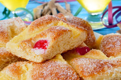 Coca de Sant Joan, typical sweet flat cake from Catalonia, Spain Royalty Free Stock Photo
