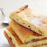 Coca de sucre, typical sweet flat cake from Catalonia, Spain Stock Photography