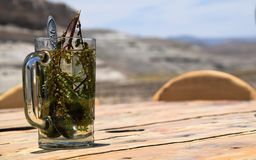 Coca tea on a wooden table royalty free stock photos