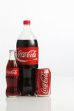 Cocacola drinks. Kuala Lumpur,Malaysia -15 July 2016,group of cocacola drinks on the white background Royalty Free Stock Images