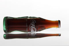 Cocacola drinks. Kuala Lumpur,Malaysia -15 July 2016 250ml cocacola glass bottle japan edition on the white background Stock Images