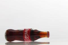 Cocacola drinks. Kuala Lumpur,Malaysia -15 July 2016 250ml cocacola glass bottle on the white background Royalty Free Stock Image