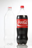 Cocacola. Kuala Lumpur Malaysia,18th July 2016,1.5 litre cocacola drinks and empty bottle on the white background Royalty Free Stock Images